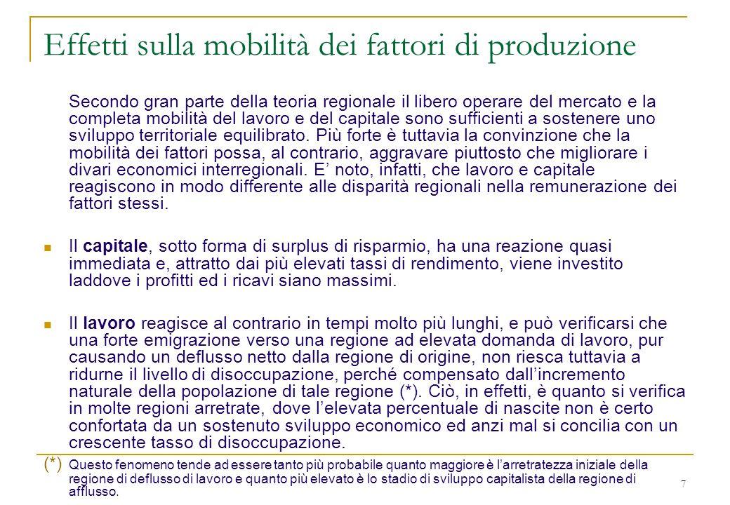 7 Effetti sulla mobilità dei fattori di produzione Secondo gran parte della teoria regionale il libero operare del mercato e la completa mobilità del lavoro e del capitale sono sufficienti a sostenere uno sviluppo territoriale equilibrato.