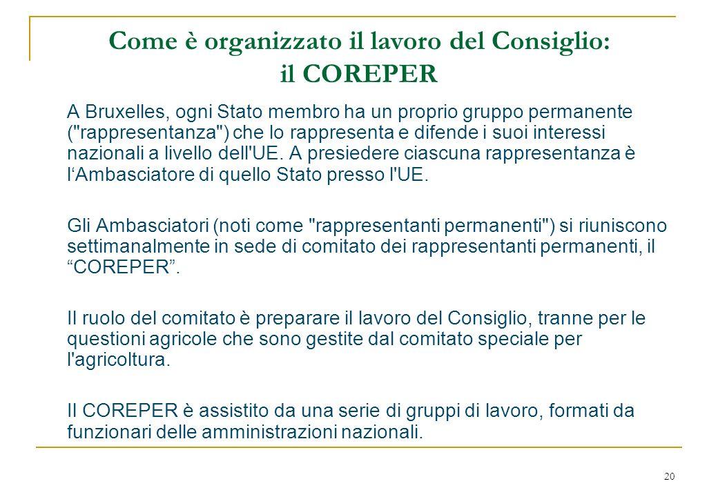 20 Come è organizzato il lavoro del Consiglio: il COREPER A Bruxelles, ogni Stato membro ha un proprio gruppo permanente ( rappresentanza ) che lo rappresenta e difende i suoi interessi nazionali a livello dell UE.