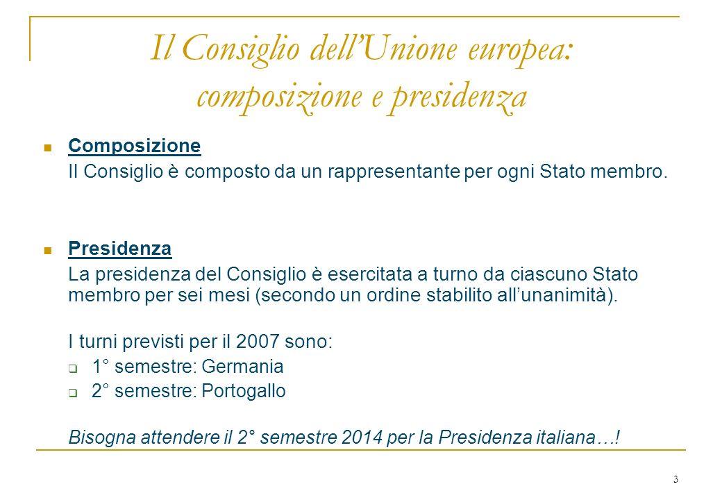 3 Il Consiglio dellUnione europea: composizione e presidenza Composizione Il Consiglio è composto da un rappresentante per ogni Stato membro.
