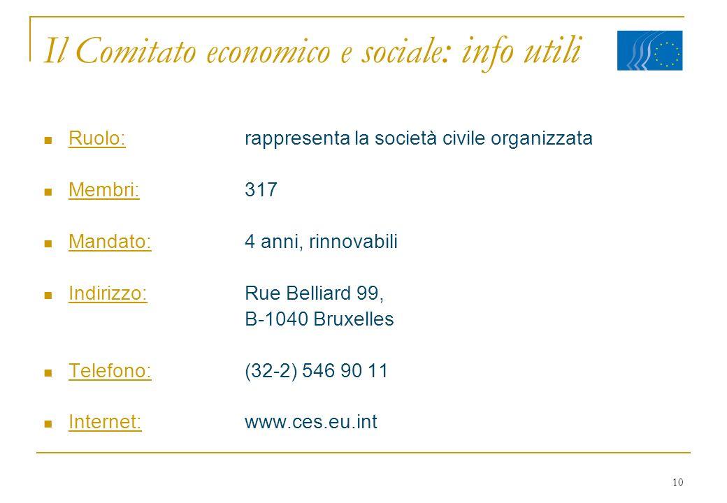10 Il Comitato economico e sociale : info utili Ruolo:rappresenta la società civile organizzata Membri:317 Mandato:4 anni, rinnovabili Indirizzo:Rue B