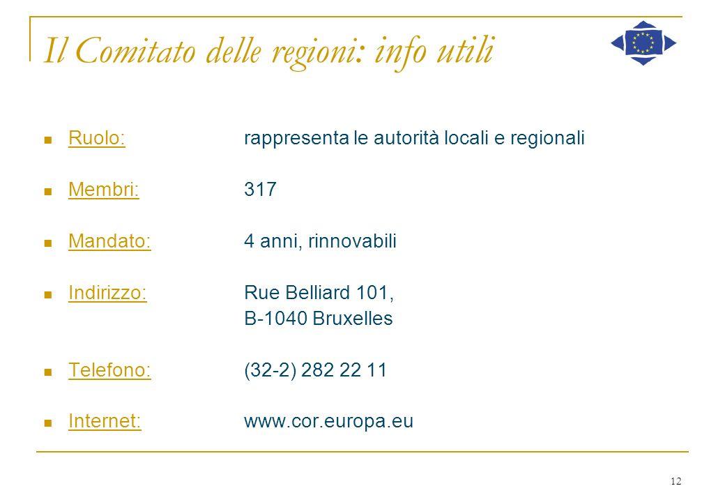 12 Il Comitato delle regioni : info utili Ruolo:rappresenta le autorità locali e regionali Membri:317 Mandato:4 anni, rinnovabili Indirizzo:Rue Bellia