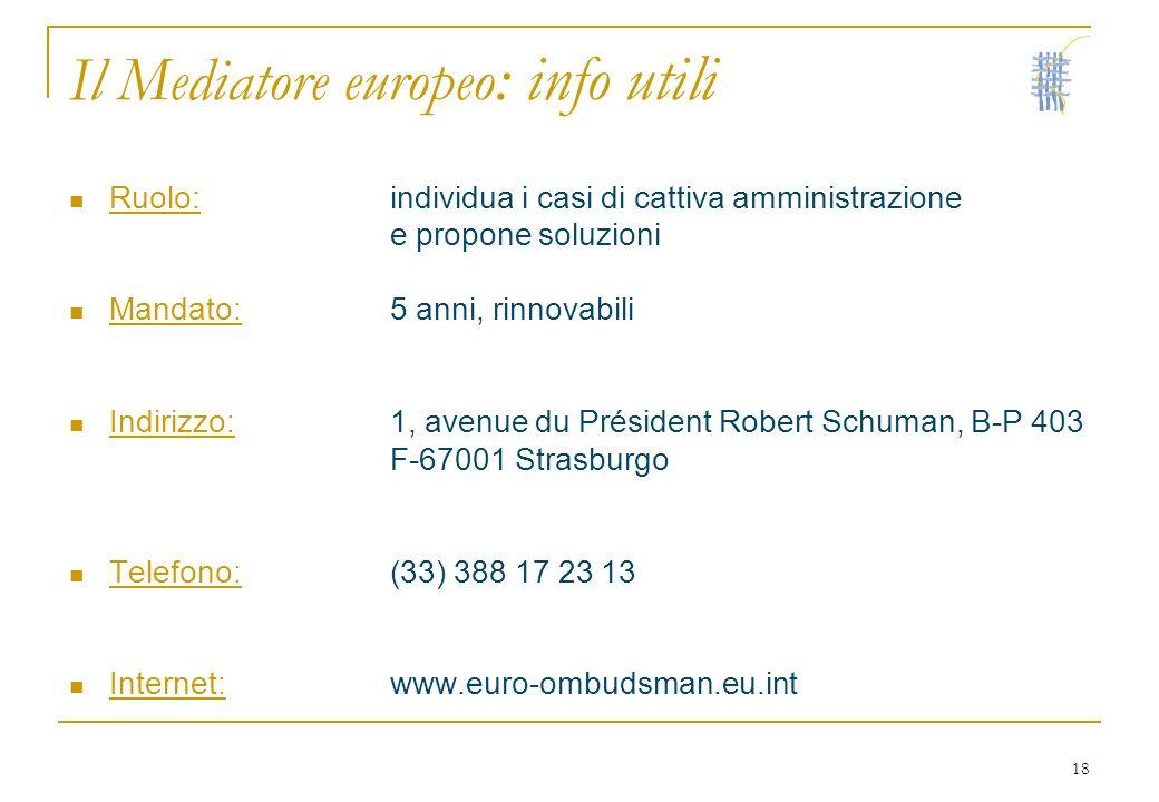 18 Il Mediatore europeo : info utili Ruolo:individua i casi di cattiva amministrazione e propone soluzioni Mandato:5 anni, rinnovabili Indirizzo:1, av