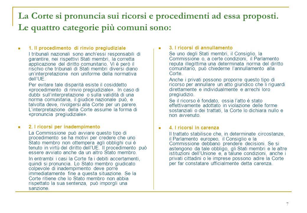 7 La Corte si pronuncia sui ricorsi e procedimenti ad essa proposti. Le quattro categorie più comuni sono: 1. Il procedimento di rinvio pregiudiziale