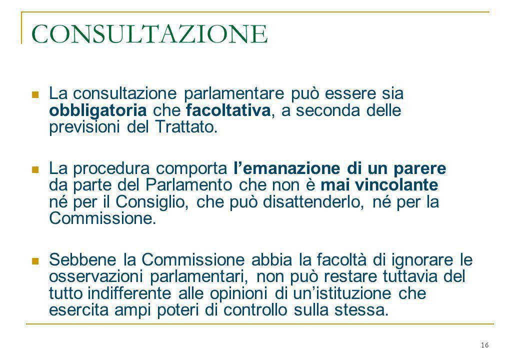 16 CONSULTAZIONE La consultazione parlamentare può essere sia obbligatoria che facoltativa, a seconda delle previsioni del Trattato.