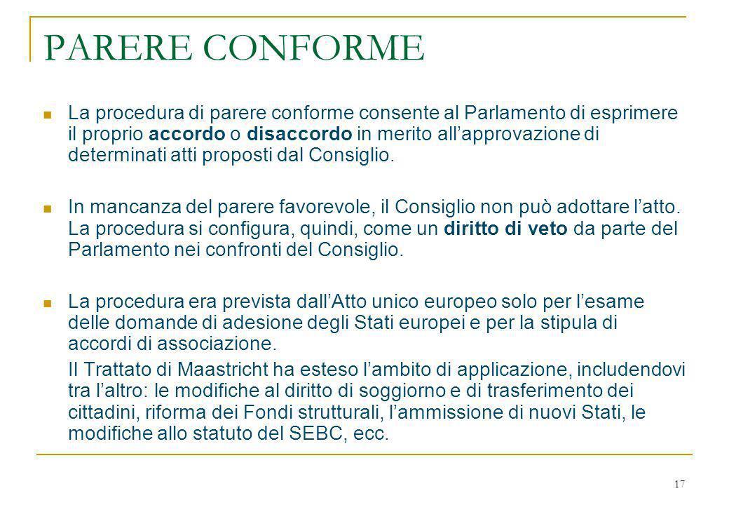 17 PARERE CONFORME La procedura di parere conforme consente al Parlamento di esprimere il proprio accordo o disaccordo in merito allapprovazione di determinati atti proposti dal Consiglio.