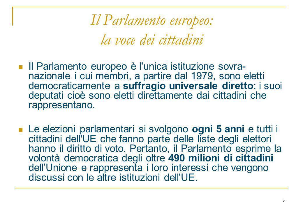 3 Il Parlamento europeo: la voce dei cittadini Il Parlamento europeo è l unica istituzione sovra- nazionale i cui membri, a partire dal 1979, sono eletti democraticamente a suffragio universale diretto: i suoi deputati cioè sono eletti direttamente dai cittadini che rappresentano.