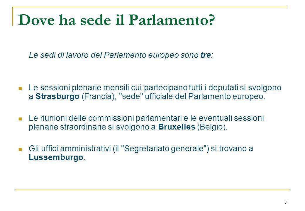 8 Dove ha sede il Parlamento.