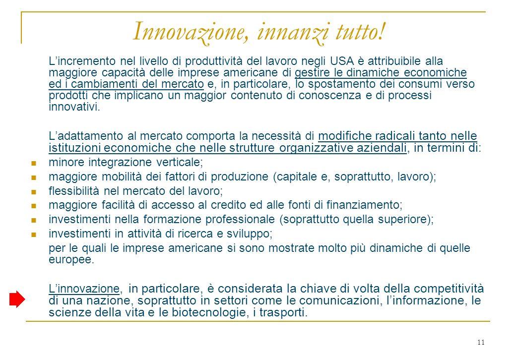 11 Innovazione, innanzi tutto.