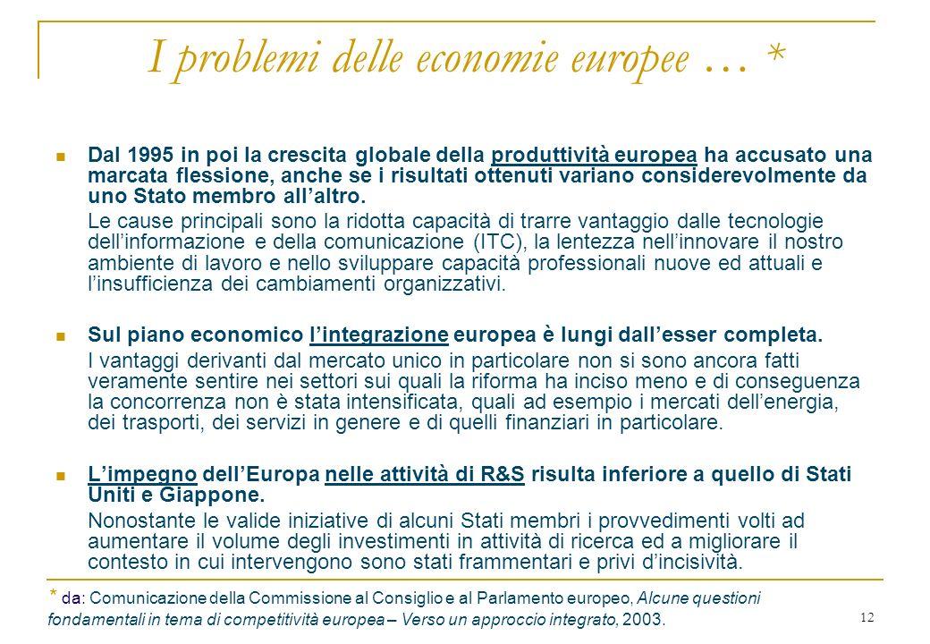 12 I problemi delle economie europee … * Dal 1995 in poi la crescita globale della produttività europea ha accusato una marcata flessione, anche se i risultati ottenuti variano considerevolmente da uno Stato membro allaltro.