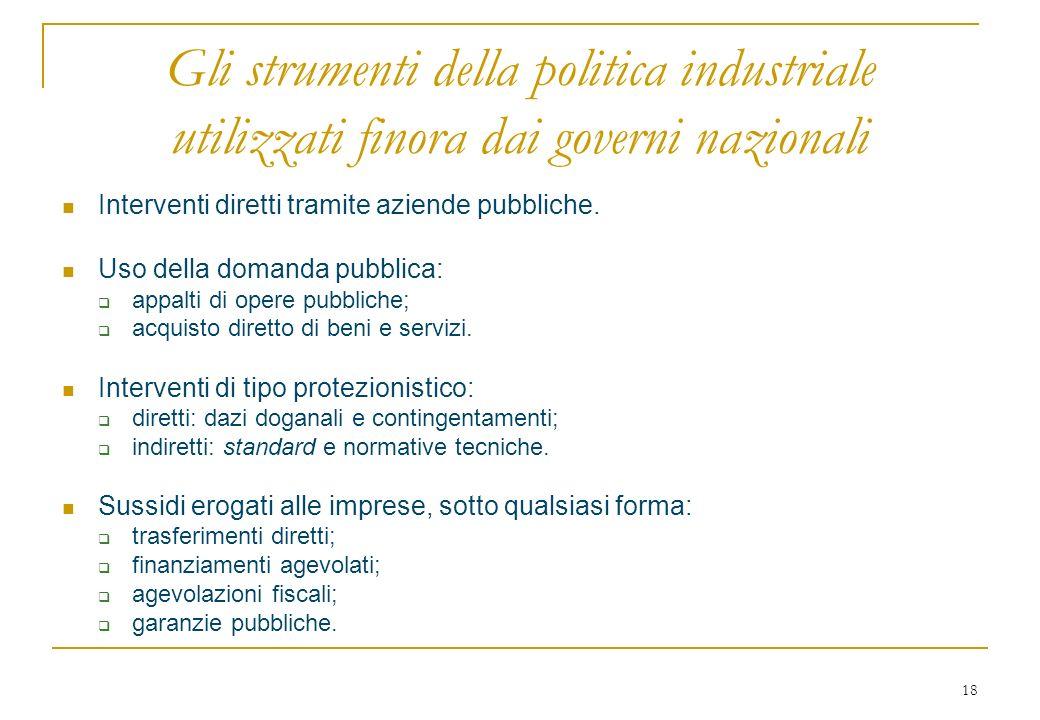 18 Gli strumenti della politica industriale utilizzati finora dai governi nazionali Interventi diretti tramite aziende pubbliche.