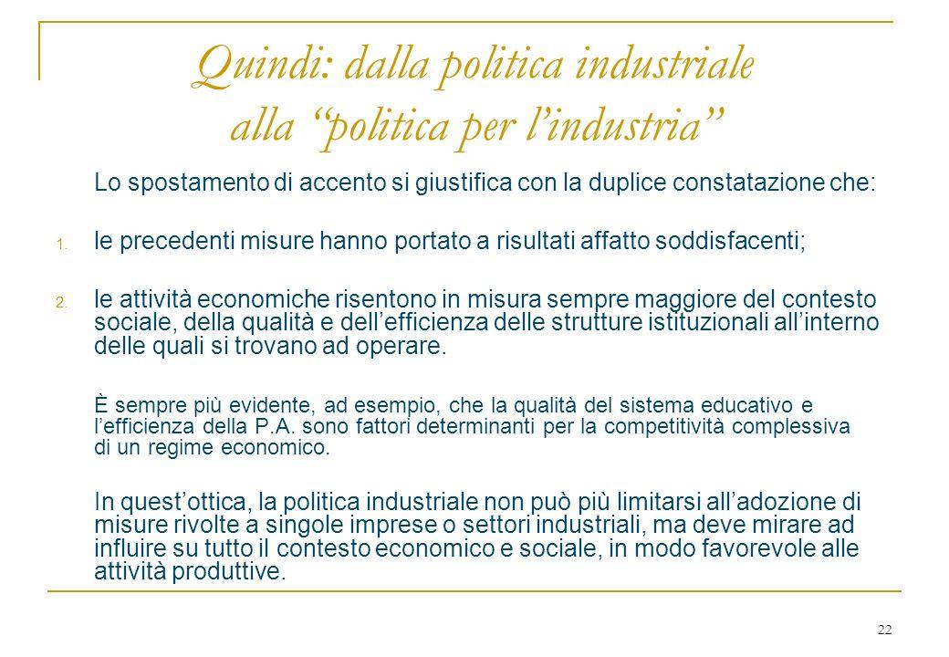 22 Quindi: dalla politica industriale alla politica per lindustria Lo spostamento di accento si giustifica con la duplice constatazione che: 1.