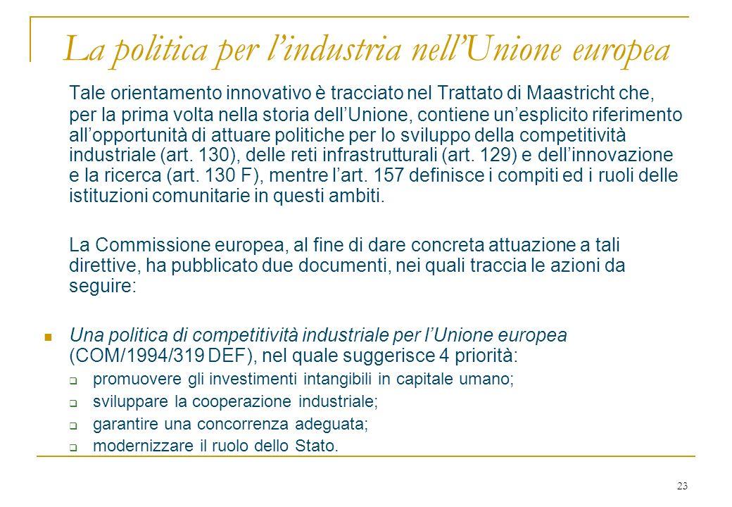 23 La politica per lindustria nellUnione europea Tale orientamento innovativo è tracciato nel Trattato di Maastricht che, per la prima volta nella storia dellUnione, contiene unesplicito riferimento allopportunità di attuare politiche per lo sviluppo della competitività industriale (art.