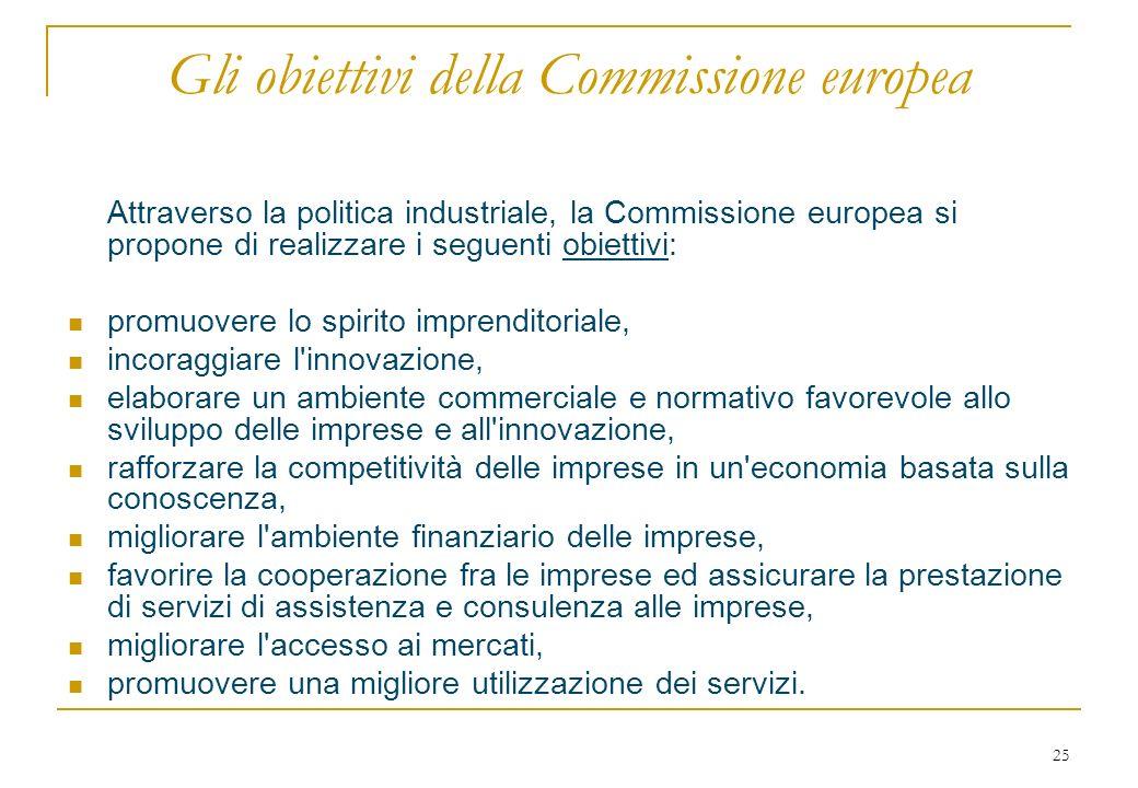 25 Gli obiettivi della Commissione europea Attraverso la politica industriale, la Commissione europea si propone di realizzare i seguenti obiettivi: promuovere lo spirito imprenditoriale, incoraggiare l innovazione, elaborare un ambiente commerciale e normativo favorevole allo sviluppo delle imprese e all innovazione, rafforzare la competitività delle imprese in un economia basata sulla conoscenza, migliorare l ambiente finanziario delle imprese, favorire la cooperazione fra le imprese ed assicurare la prestazione di servizi di assistenza e consulenza alle imprese, migliorare l accesso ai mercati, promuovere una migliore utilizzazione dei servizi.