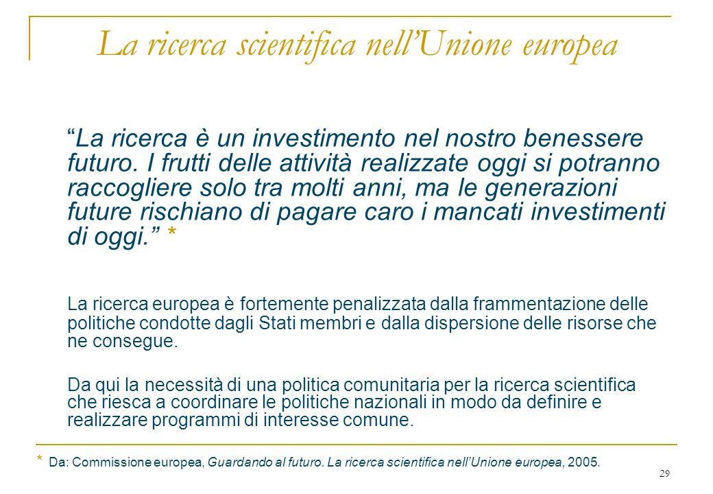 29 La ricerca scientifica nellUnione europea La ricerca è un investimento nel nostro benessere futuro.