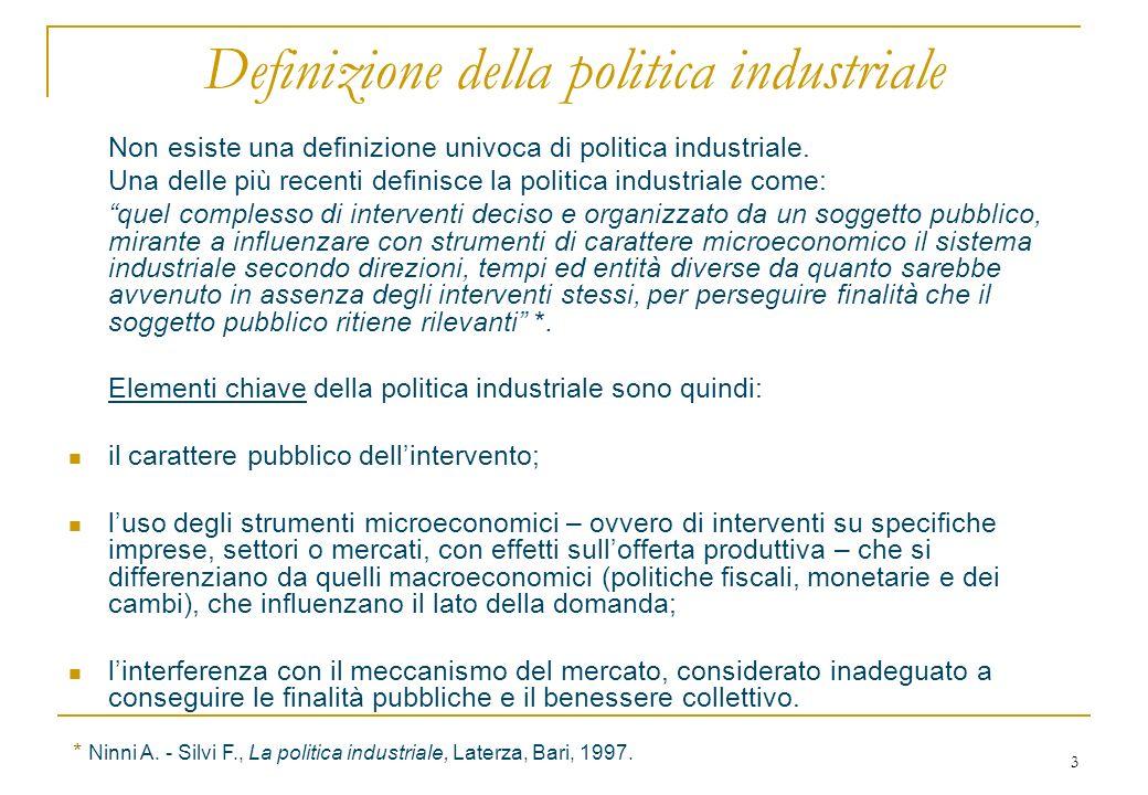 3 Definizione della politica industriale Non esiste una definizione univoca di politica industriale.
