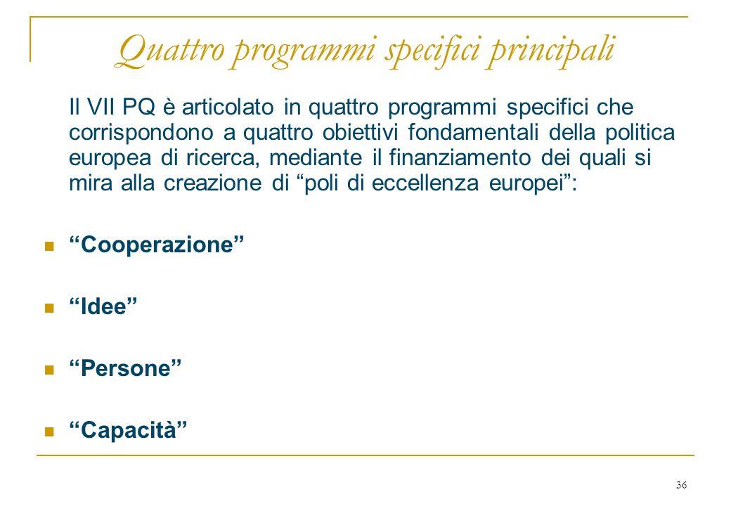 36 Quattro programmi specifici principali Il VII PQ è articolato in quattro programmi specifici che corrispondono a quattro obiettivi fondamentali della politica europea di ricerca, mediante il finanziamento dei quali si mira alla creazione di poli di eccellenza europei: Cooperazione Idee Persone Capacità