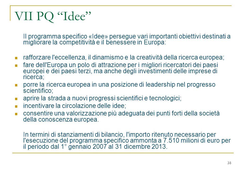 38 VII PQ Idee Il programma specifico «Idee» persegue vari importanti obiettivi destinati a migliorare la competitività e il benessere in Europa: rafforzare l eccellenza, il dinamismo e la creatività della ricerca europea; fare dell Europa un polo di attrazione per i migliori ricercatori dei paesi europei e dei paesi terzi, ma anche degli investimenti delle imprese di ricerca; porre la ricerca europea in una posizione di leadership nel progresso scientifico; aprire la strada a nuovi progressi scientifici e tecnologici; incentivare la circolazione delle idee; consentire una valorizzazione più adeguata dei punti forti della società della conoscenza europea.