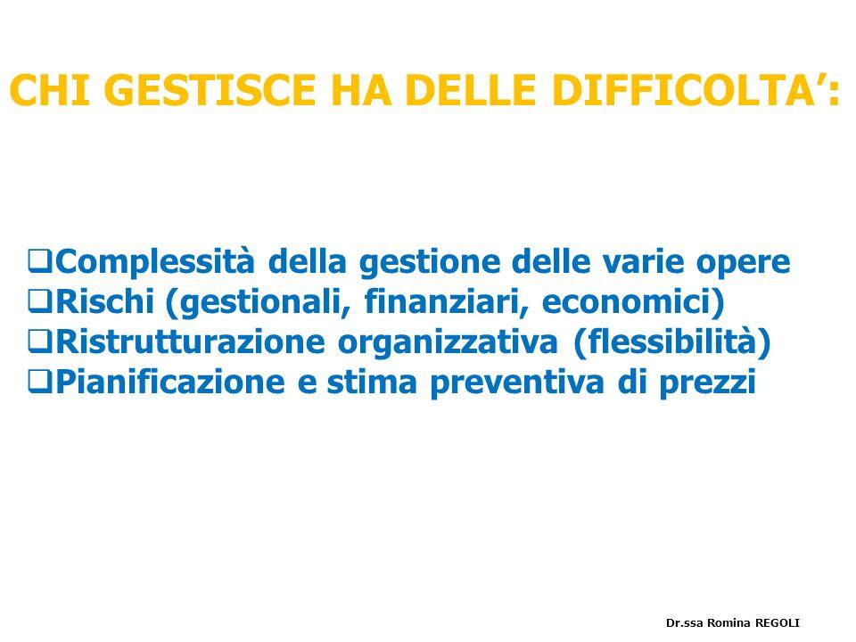 Complessità della gestione delle varie opere Rischi (gestionali, finanziari, economici) Ristrutturazione organizzativa (flessibilità) Pianificazione e