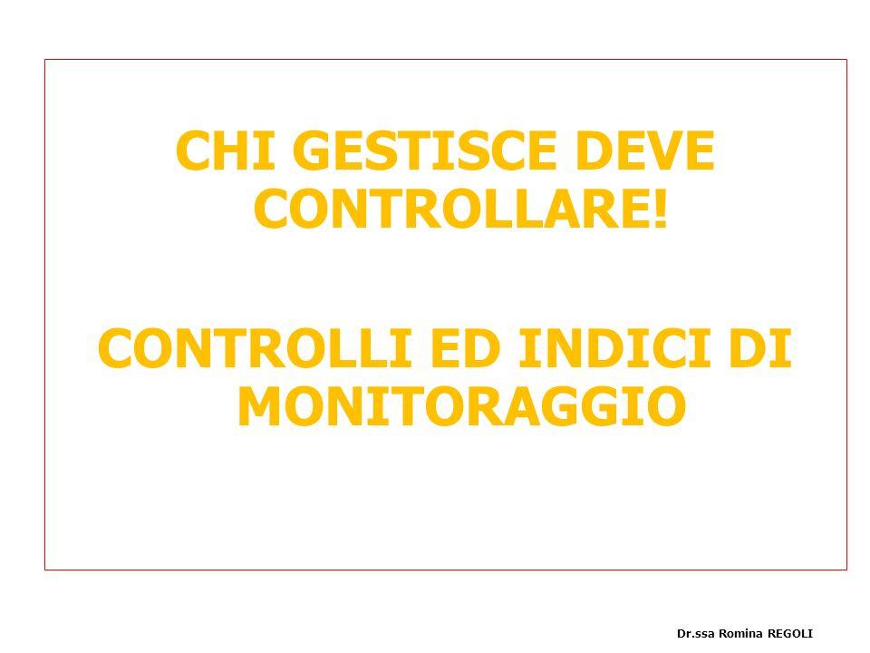 PIAFINIFICAZIONE CHI GESTISCE DEVE CONTROLLARE! CONTROLLI ED INDICI DI MONITORAGGIO Dr.ssa Romina REGOLI