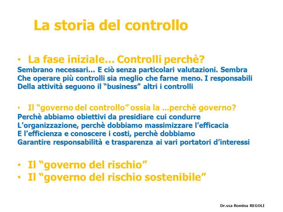 La storia del controllo La fase iniziale… Controlli perchè? Sembrano necessari... E ciò senza particolari valutazioni. Sembra Che operare più controll