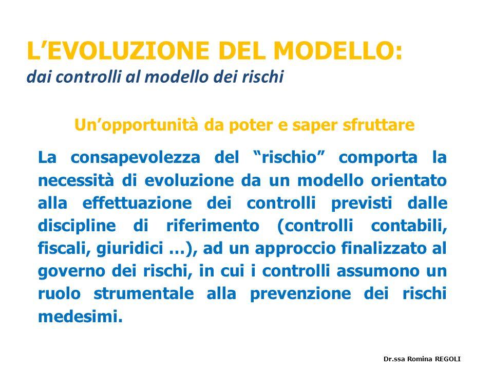Unopportunità da poter e saper sfruttare La consapevolezza del rischio comporta la necessità di evoluzione da un modello orientato alla effettuazione