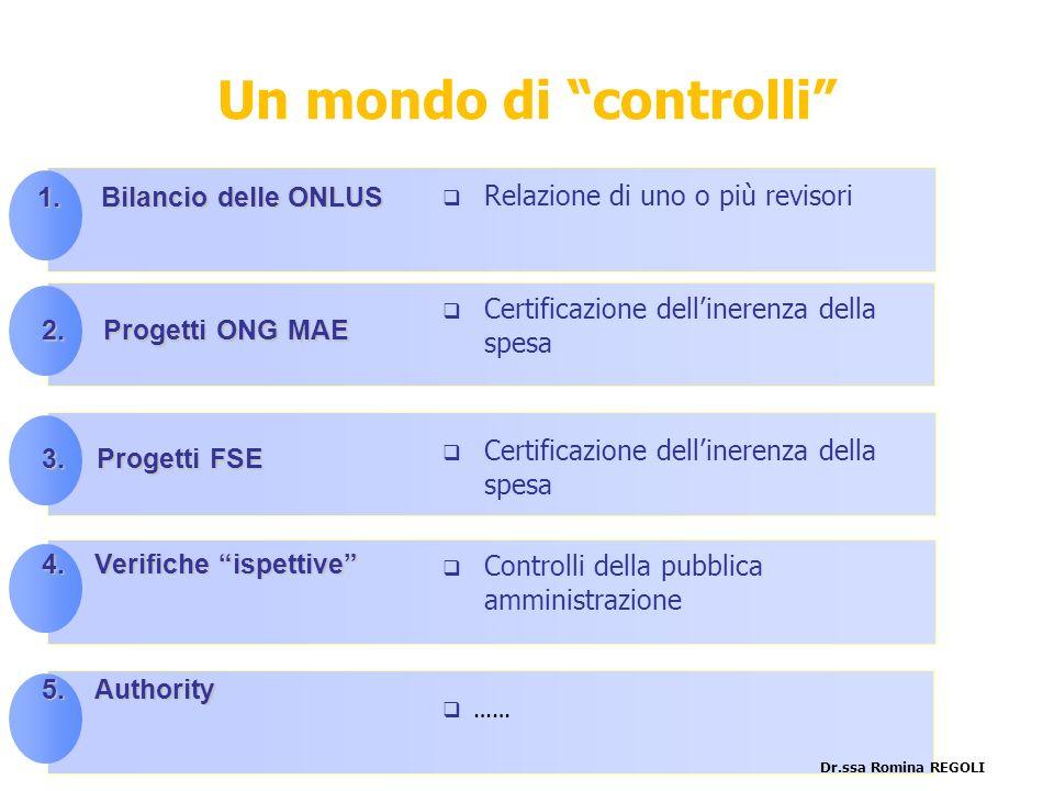 le principali… 4.Verifiche ispettive 2. Progetti ONG MAE 3.Progetti FSE 5.Authority Certificazione dellinerenza della spesa …… Certificazione delliner