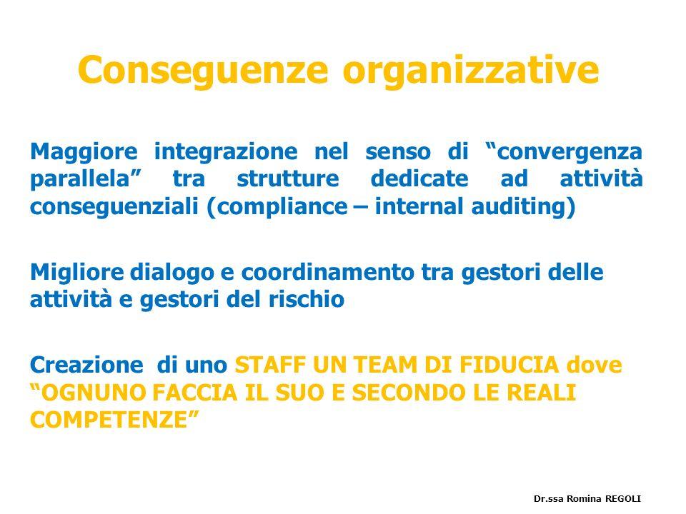 Conseguenze organizzative Maggiore integrazione nel senso di convergenza parallela tra strutture dedicate ad attività conseguenziali (compliance – int