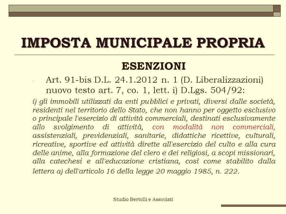Studio Bertolli e Associati IMPOSTA MUNICIPALE PROPRIA ESENZIONI - Art.