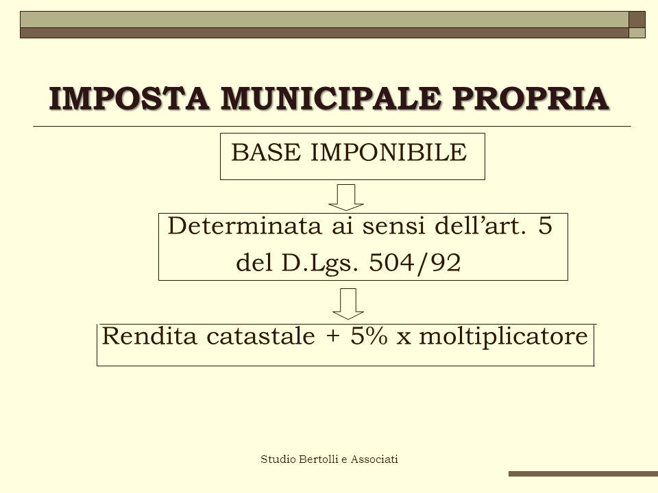 IMPOSTA MUNICIPALE PROPRIA I NUOVI MOLTIPLICATORI Studio Bertolli e Associati Categoria catastaleI.C.I.
