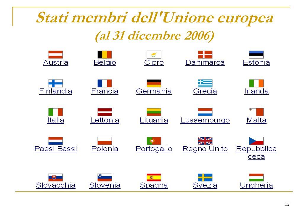 12 Stati membri dell'Unione europea (al 31 dicembre 2006)