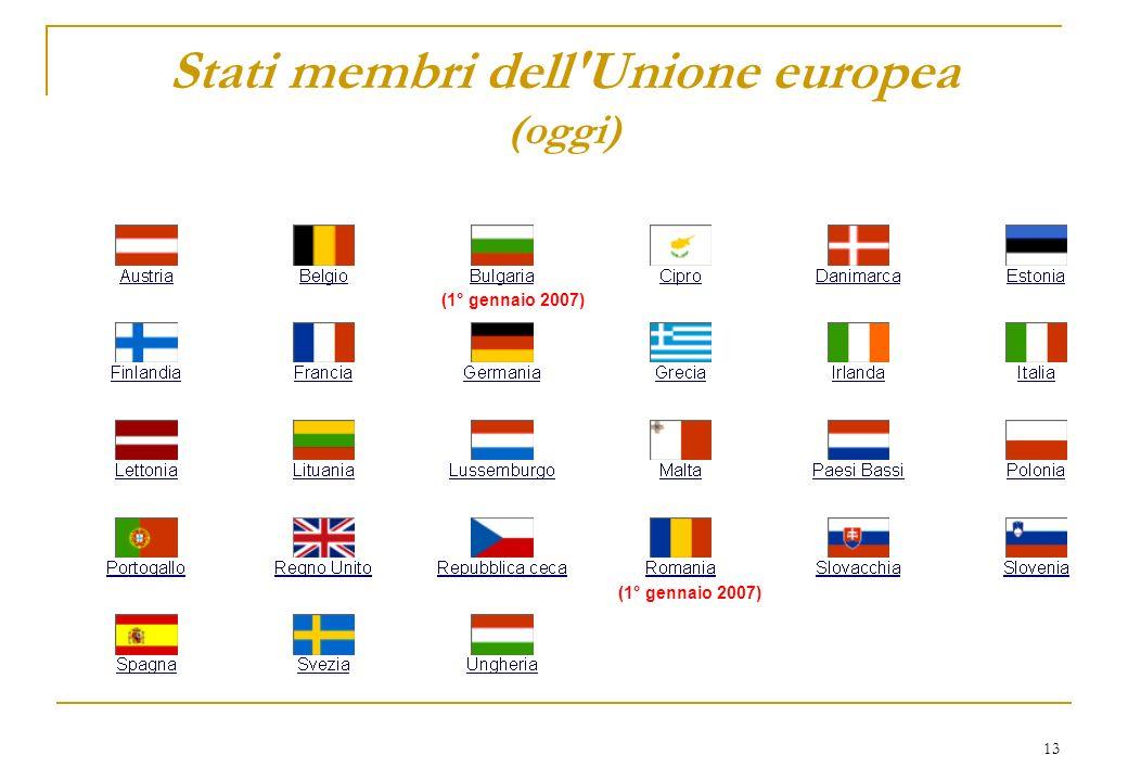 13 Stati membri dell'Unione europea (oggi) (1° gennaio 2007)
