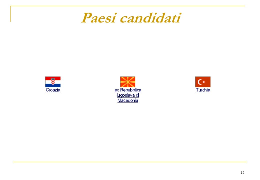 15 Paesi candidati