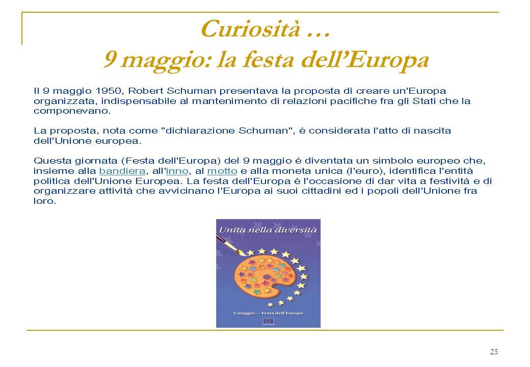 25 Curiosità … 9 maggio: la festa dellEuropa