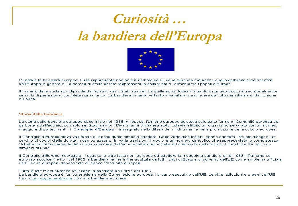 26 Curiosità … la bandiera dellEuropa