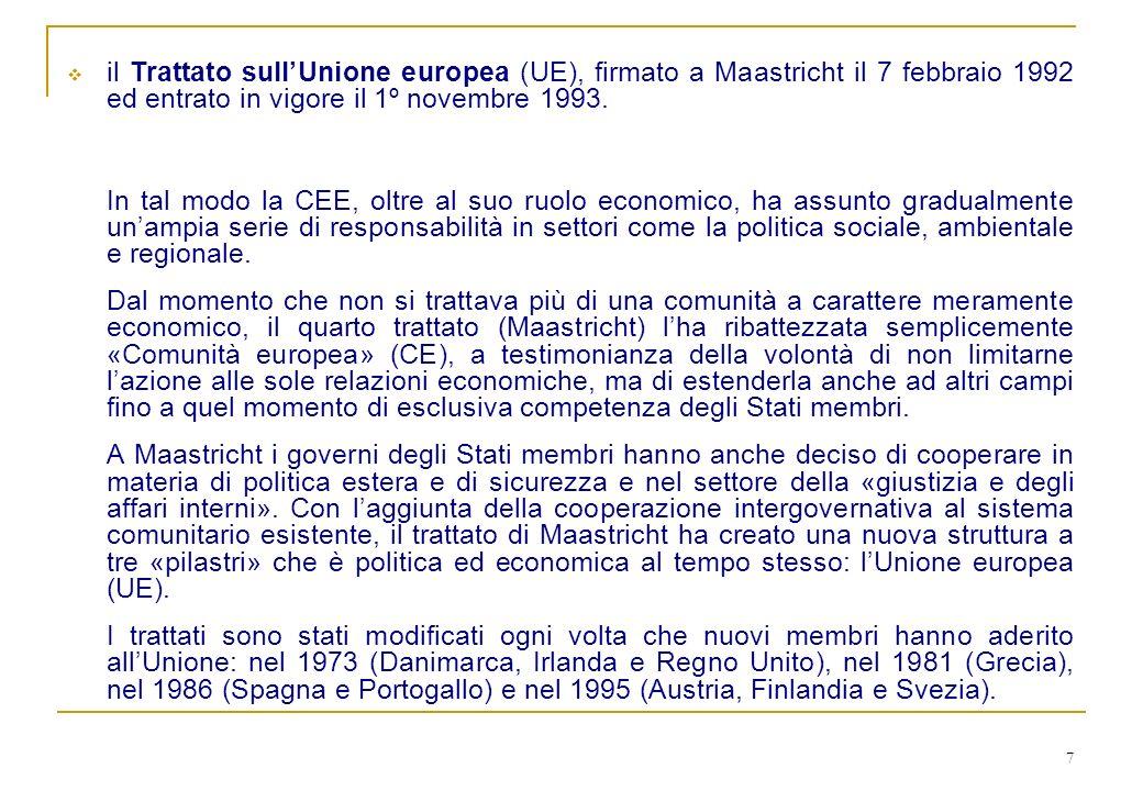 7 il Trattato sullUnione europea (UE), firmato a Maastricht il 7 febbraio 1992 ed entrato in vigore il 1º novembre 1993. In tal modo la CEE, oltre al