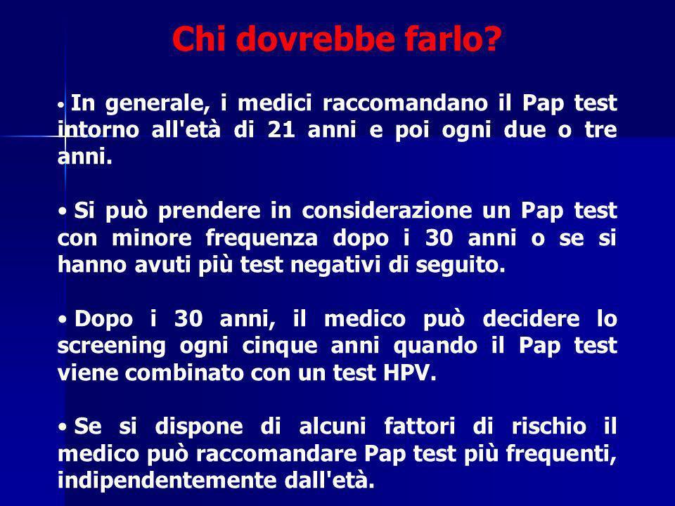 Chi dovrebbe farlo? In generale, i medici raccomandano il Pap test intorno all'età di 21 anni e poi ogni due o tre anni. Si può prendere in consideraz