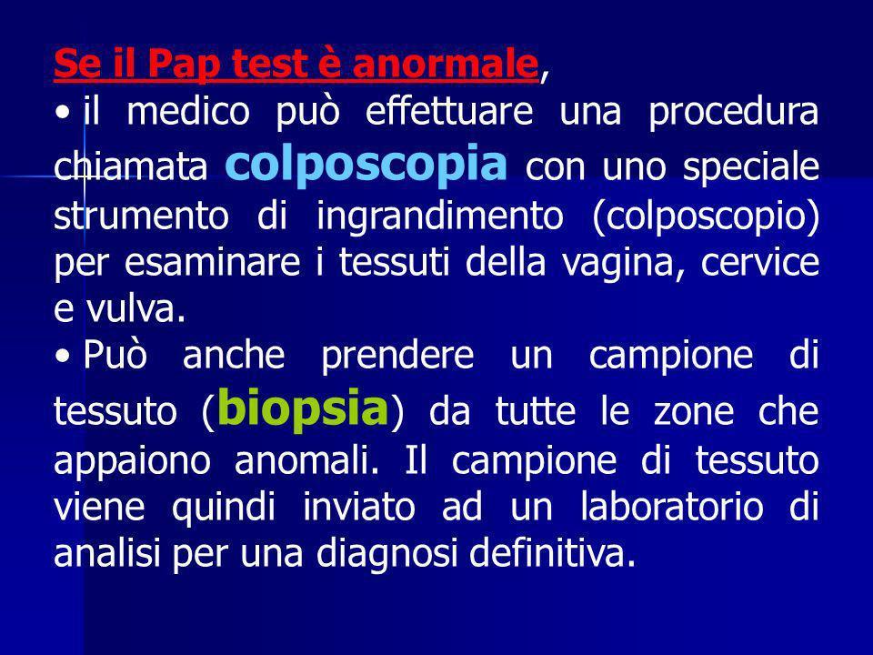 Se il Pap test è anormale, il medico può effettuare una procedura chiamata colposcopia con uno speciale strumento di ingrandimento (colposcopio) per e