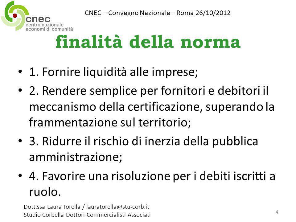 finalità della norma 1. Fornire liquidità alle imprese; 2. Rendere semplice per fornitori e debitori il meccanismo della certificazione, superando la