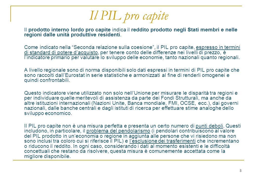 8 Il PIL pro capite Il prodotto interno lordo pro capite indica il reddito prodotto negli Stati membri e nelle regioni dalle unità produttive resident