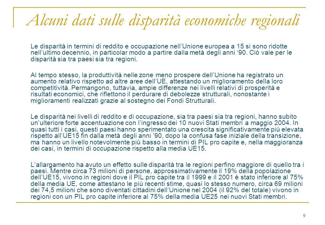 9 Alcuni dati sulle disparità economiche regionali Le disparità in termini di reddito e occupazione nellUnione europea a 15 si sono ridotte nellultimo decennio, in particolar modo a partire dalla metà degli anni 90.