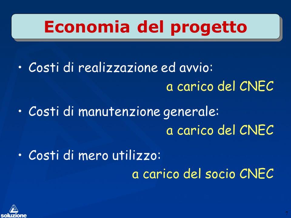 Economia del progetto Costi di realizzazione ed avvio: a carico del CNEC Costi di manutenzione generale: a carico del CNEC Costi di mero utilizzo: a carico del socio CNEC 7