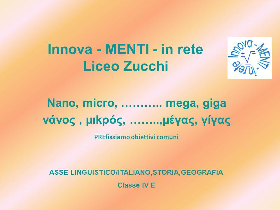 Innova - MENTI - in rete Liceo Zucchi Nano, micro, ……….. mega, giga νάνος, μιkρός, ……..,μέγας, γίγας PREfissiamo obiettivi comuni ASSE LINGUISTICO/ITA