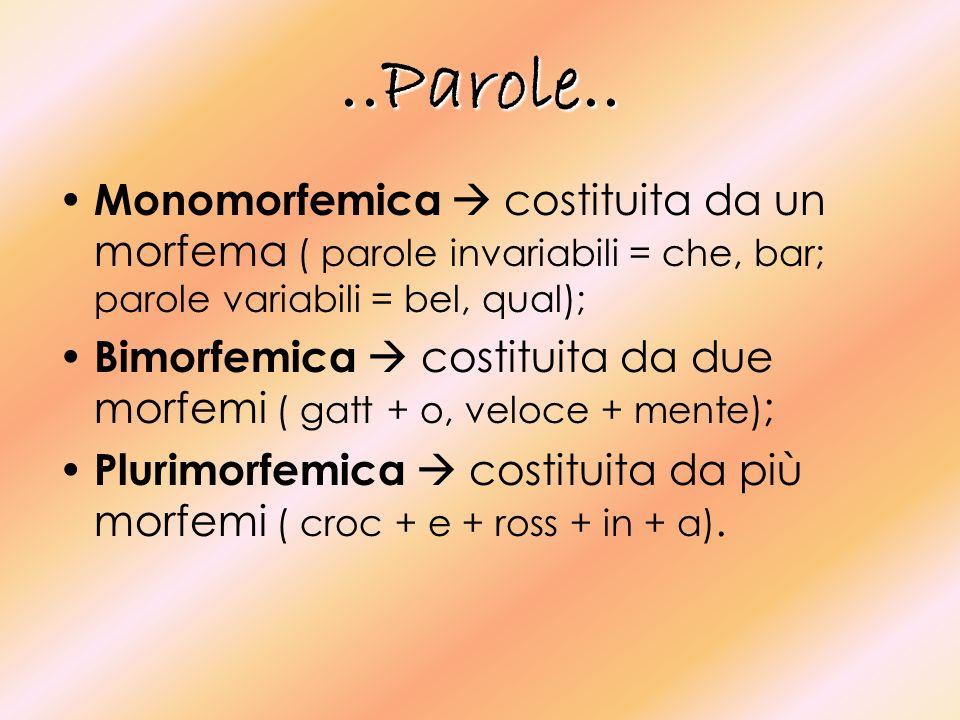 ..Parole.. Monomorfemica costituita da un morfema ( parole invariabili = che, bar; parole variabili = bel, qual); Bimorfemica costituita da due morfem