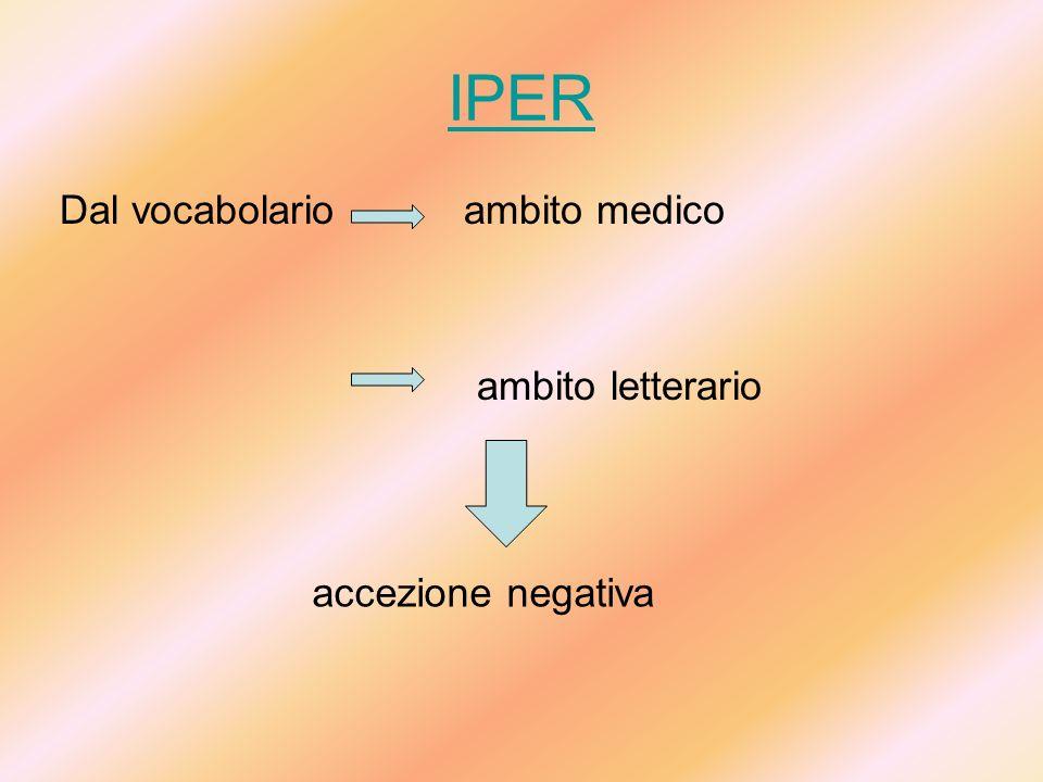 IPER Dal vocabolario ambito medico ambito letterario accezione negativa