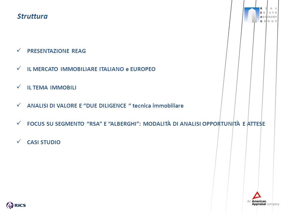Struttura PRESENTAZIONE REAG IL MERCATO IMMOBILIARE ITALIANO e EUROPEO IL TEMA IMMOBILI ANALISI DI VALORE E DUE DILIGENCE tecnica immobiliare FOCUS SU