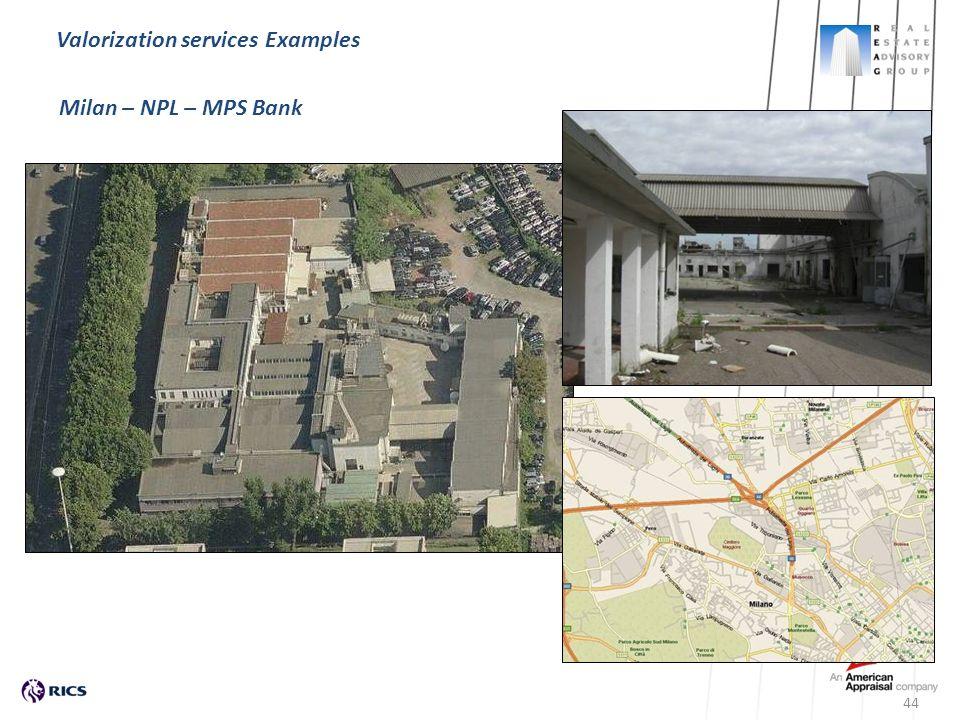 Milan – NPL – MPS Bank 44 Valorization services Examples Milan – NPL – MPS Bank