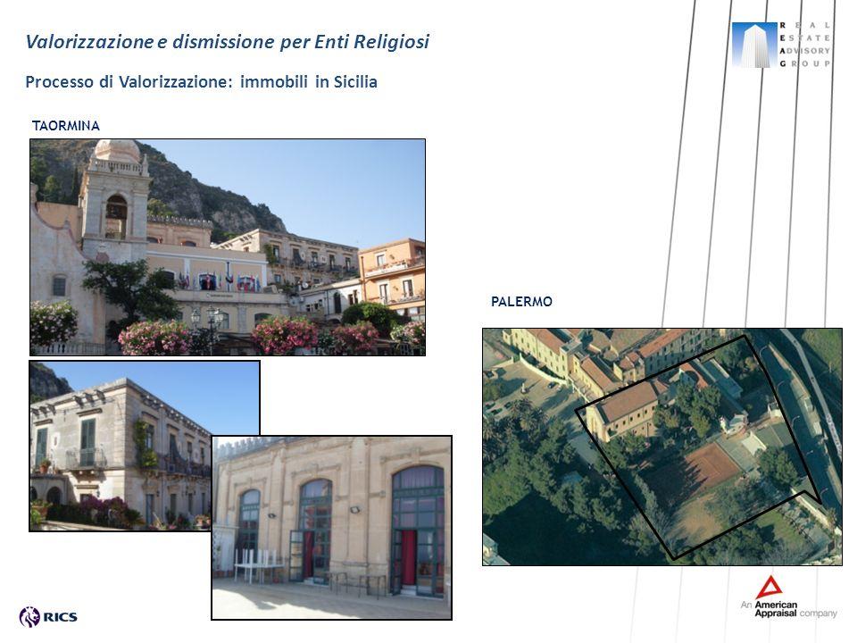 Valorizzazione e dismissione per Enti Religiosi Processo di Valorizzazione: immobili in Sicilia PALERMO TAORMINA