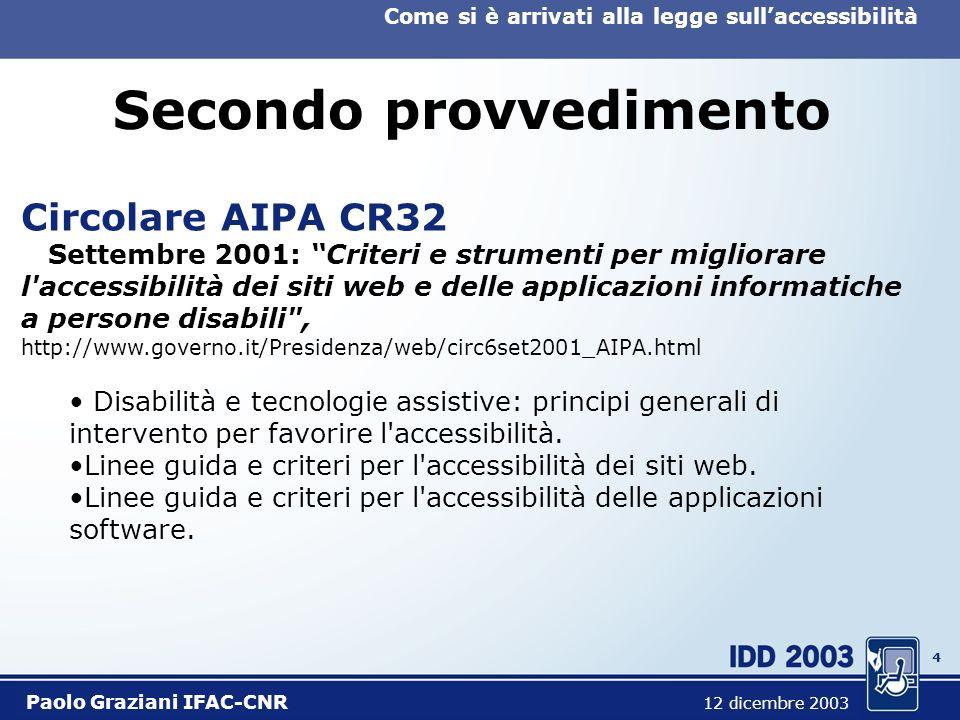 4 Come si è arrivati alla legge sullaccessibilità Paolo Graziani IFAC-CNR 12 dicembre 2003 Secondo provvedimento Circolare AIPA CR32 Settembre 2001: Criteri e strumenti per migliorare l accessibilità dei siti web e delle applicazioni informatiche a persone disabili , http://www.governo.it/Presidenza/web/circ6set2001_AIPA.html Disabilità e tecnologie assistive: principi generali di intervento per favorire l accessibilità.