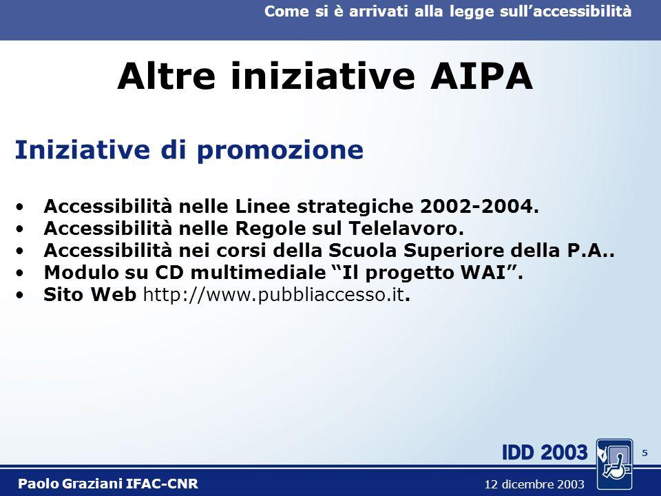 5 Come si è arrivati alla legge sullaccessibilità Paolo Graziani IFAC-CNR 12 dicembre 2003 Altre iniziative AIPA Iniziative di promozione Accessibilità nelle Linee strategiche 2002-2004.