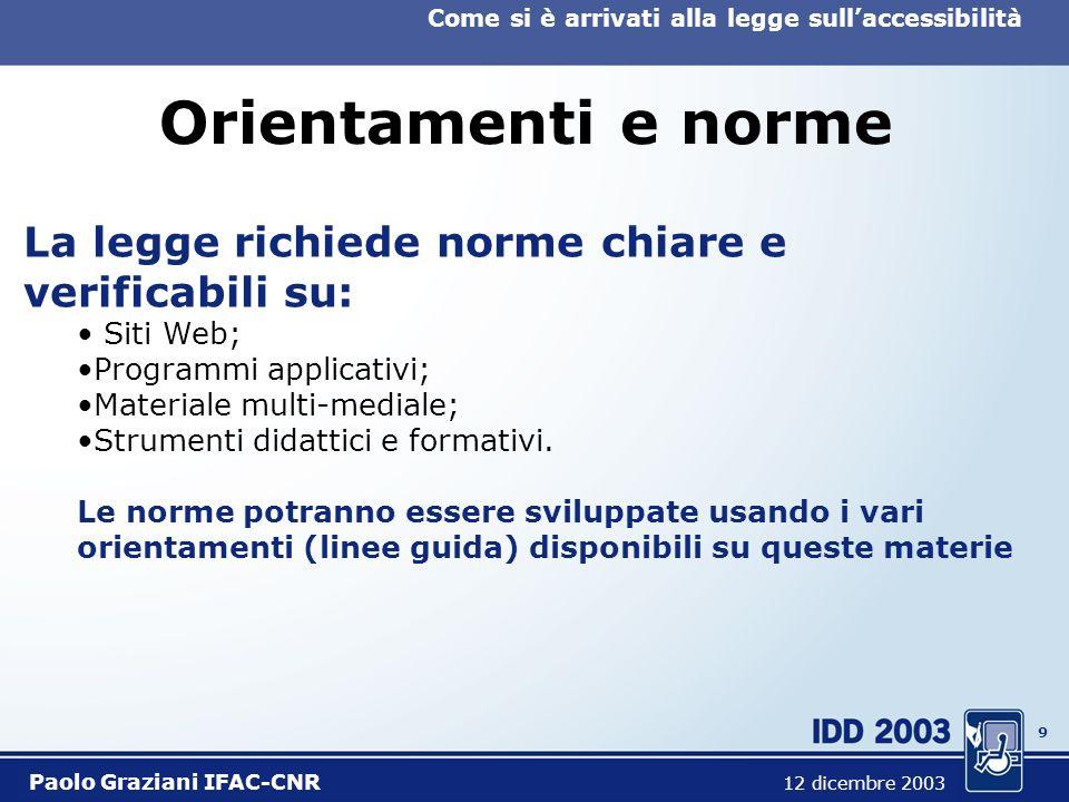 9 Come si è arrivati alla legge sullaccessibilità Paolo Graziani IFAC-CNR 12 dicembre 2003 Orientamenti e norme La legge richiede norme chiare e verificabili su: Siti Web; Programmi applicativi; Materiale multi-mediale; Strumenti didattici e formativi.